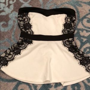 Black and White Lace Peplum Tube Top